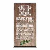 Oakland Athletics Family Rules Icon Wood Framed Printed Canvas