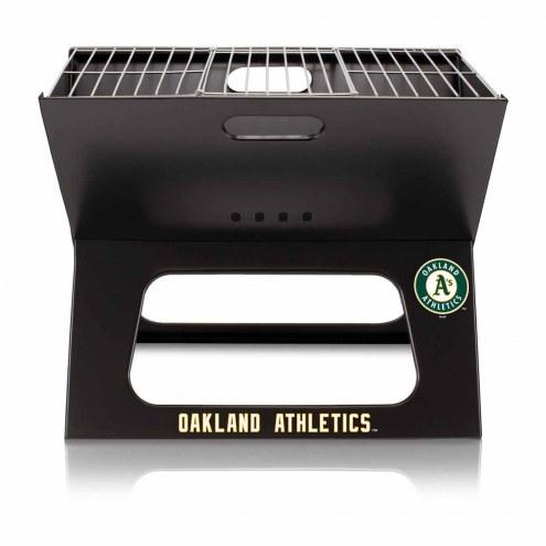 Oakland Athletics Black Portable Charcoal X-Grill