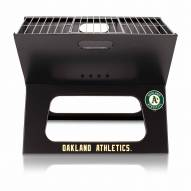 Oakland Athletics Black Portable Charcoal X-Grill
