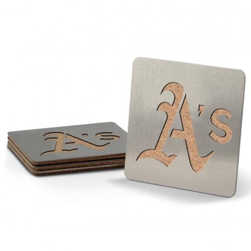 Oakland Athletics Boasters Stainless Steel Coasters - Set of 4