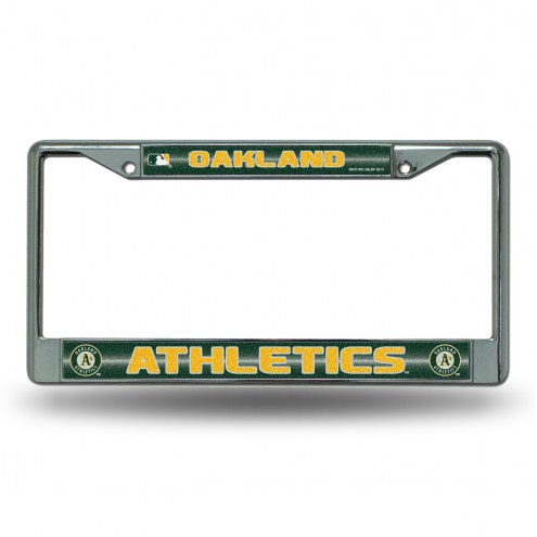 Oakland Athletics Chrome Glitter License Plate Frame