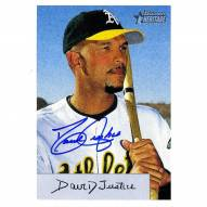 Oakland Athletics David Justice Signed 2002 Topps Card Bowman Heritage