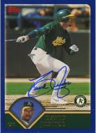 Oakland Athletics David Justice Signed 2002 Topps Card Swinging Through