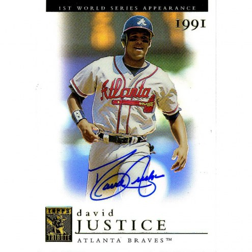Oakland Athletics David Justice Signed 2003 Topps Card 1st WS Appearance 1991