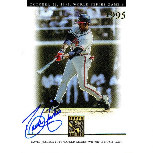 Oakland Athletics David Justice Signed 2003 Topps Card Oct 28 1995 WS game 6
