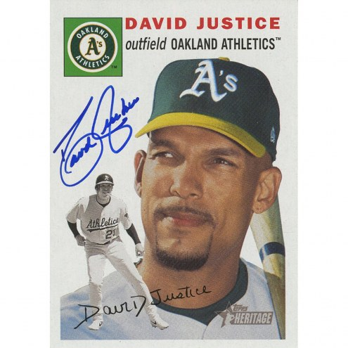 Oakland Athletics David Justice Signed 2003 Topps Card Topps Heritage