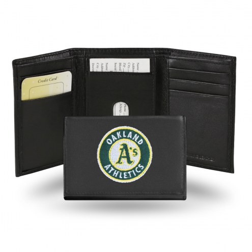 Oakland Athletics Embroidered Leather Tri-Fold Wallet