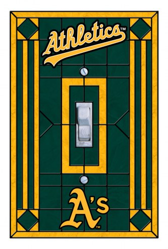 Oakland Athletics Glass Single Light Switch Plate Cover