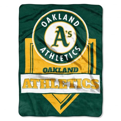 Oakland Athletics Home Plate Plush Raschel Blanket