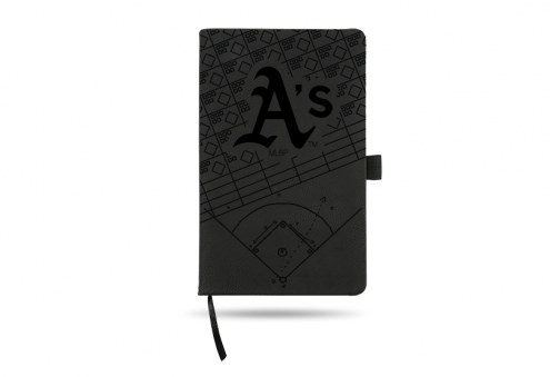 Oakland Athletics Laser Engraved Black Notepad