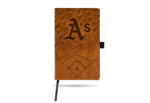 Oakland Athletics Laser Engraved Brown Notepad