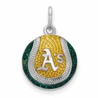 Oakland Athletics Sterling Silver Baseball Pendant