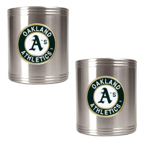Oakland Athletics MLB Stainless Steel Can Holder 2-Piece Set