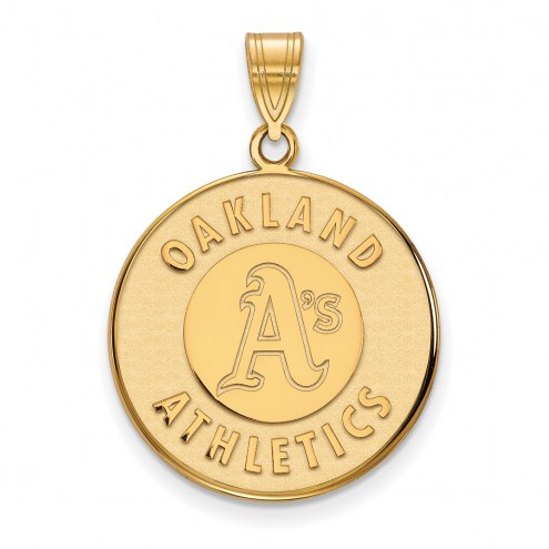 Oakland Athletics MLB Sterling Silver Gold Plated Large Pendant