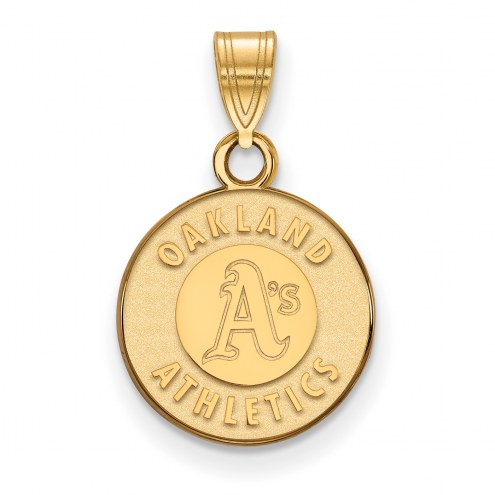 Oakland Athletics MLB Sterling Silver Gold Plated Small Pendant