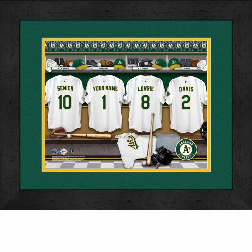 Oakland Athletics Personalized Locker Room 13 x 16 Framed Photograph