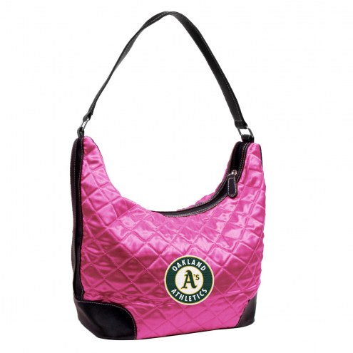 Oakland Athletics Pink MLB Quilted Hobo Handbag