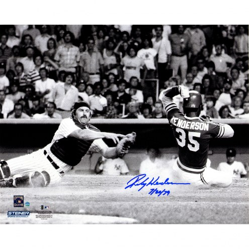 "Oakland Athletics Rickey Henderson 1979 Scoring vs. Thurman Munson w/ ""7/20/79"" Signed 16"" x 20"" Photo"