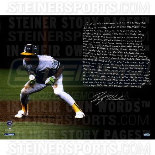 "Oakland Athletics Rickey Henderson Earthquake Story Signed 16"" x 20"" Photo"