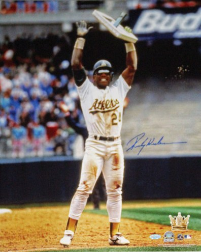 """Oakland Athletics Rickey Henderson Holding Base in Air Signed 16"""" x 20"""" Photo"""