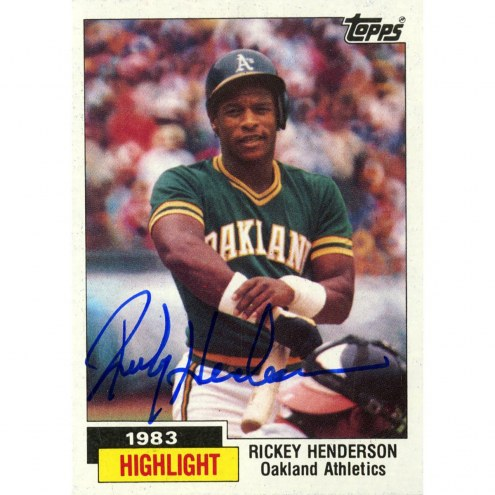 Oakland Athletics Rickey Henderson Signed 1983 Topps Highlight Card