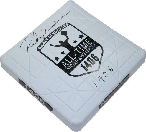 Oakland Athletics Rickey Henderson Signed Commemorative Base w/ 1406 S.B.