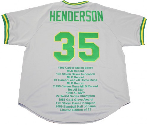 Oakland Athletics Rickey Henderson Signed Grey Throwback Jersey w/ Embroidered Stats