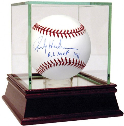 Oakland Athletics Rickey Henderson Signed MLB Baseball w/ AL MVP 1991