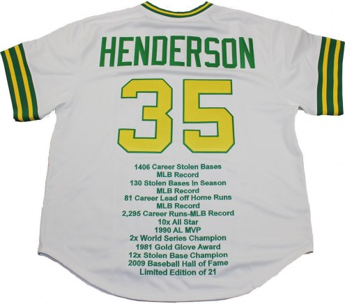 Oakland Athletics Rickey Henderson Signed White Throwback Jersey w/ Embroidered Stats