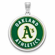 Oakland Athletics Sterling Silver Disc Pendant
