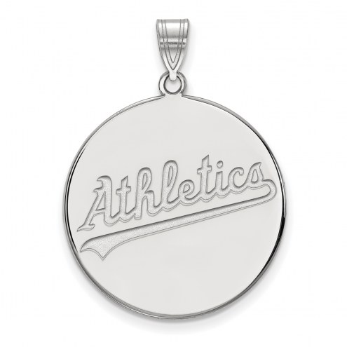 Oakland Athletics Sterling Silver Extra Large Disc Pendant