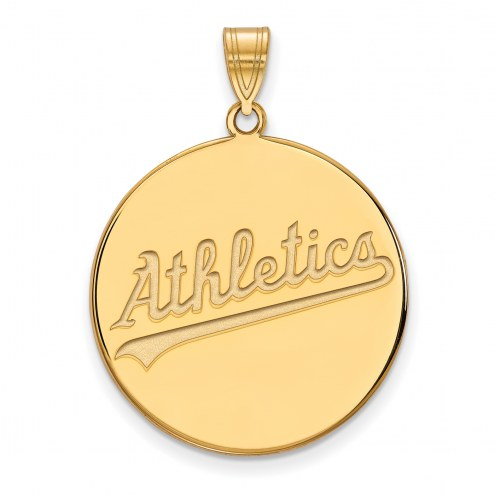 Oakland Athletics Sterling Silver Gold Plated Extra Large Disc Pendant