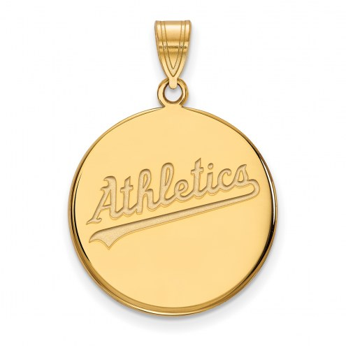 Oakland Athletics Sterling Silver Gold Plated Large Disc Pendant