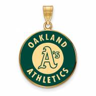 Oakland Athletics Sterling Silver Gold Plated Large Enameled Pendant