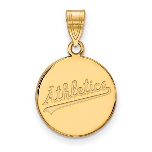 Oakland Athletics Sterling Silver Gold Plated Medium Disc Pendant
