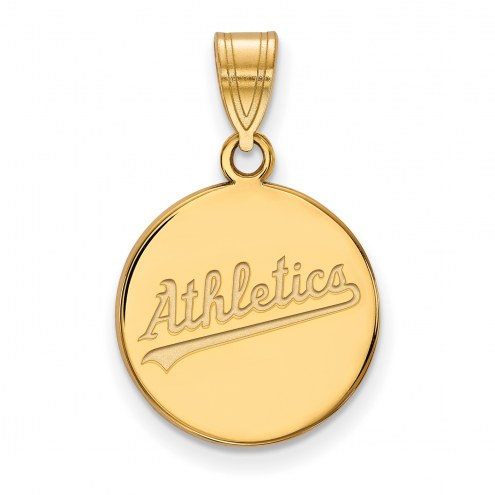 Oakland Athletics Sterling Silver Gold Plated Medium Disc Pendant