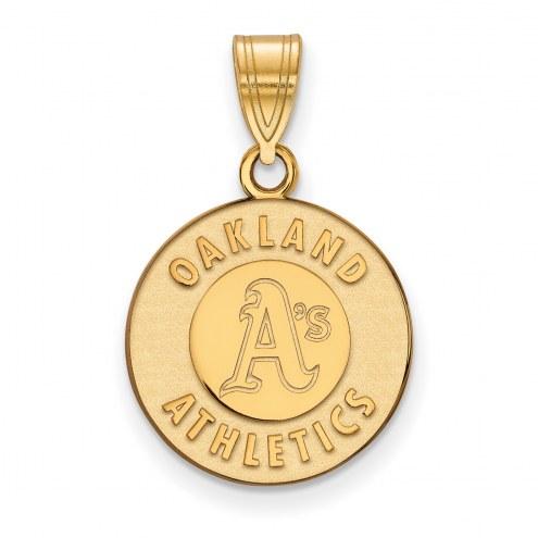Oakland Athletics Sterling Silver Gold Plated Medium Pendant