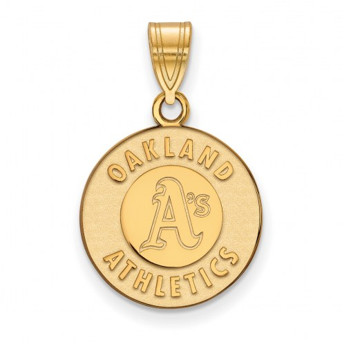 Oakland Athletics Sterling Silver Gold Plated Medium Pendant