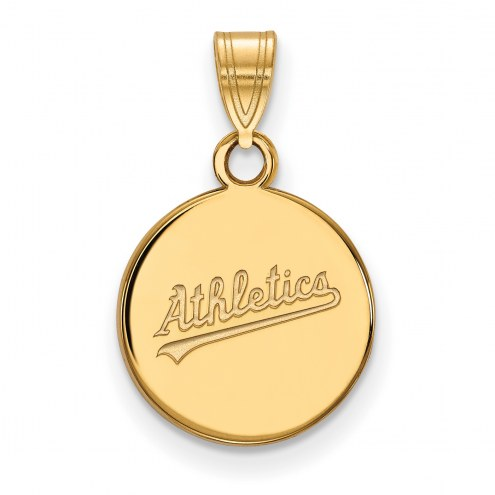 Oakland Athletics Sterling Silver Gold Plated Small Disc Pendant