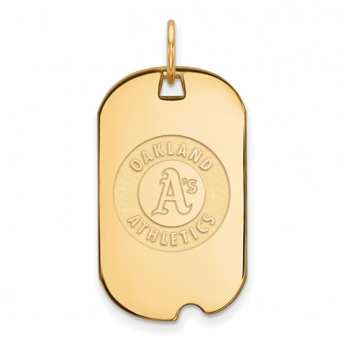Oakland Athletics Sterling Silver Gold Plated Small Dog Tag