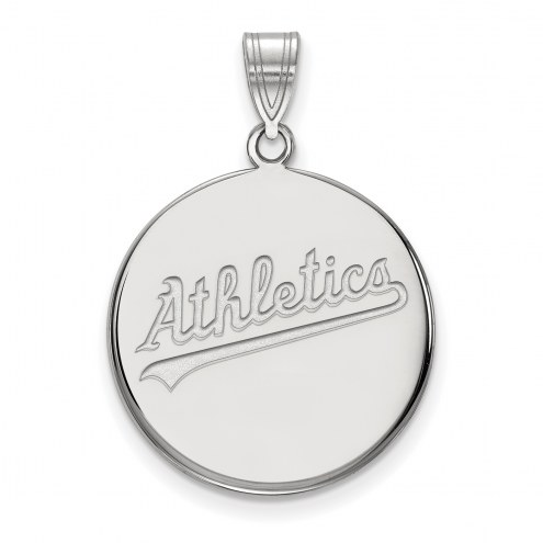 Oakland Athletics Sterling Silver Large Disc Pendant