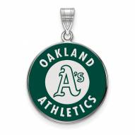 Oakland Athletics Sterling Silver Large Enameled Pendant