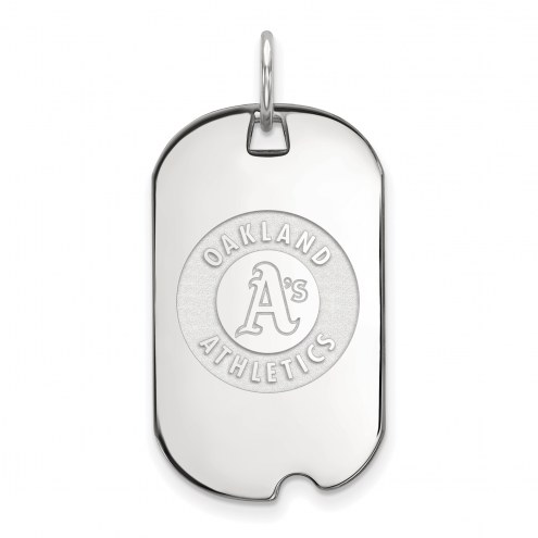 Oakland Athletics Sterling Silver Small Dog Tag