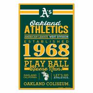Oakland Athletics Established Wood Sign