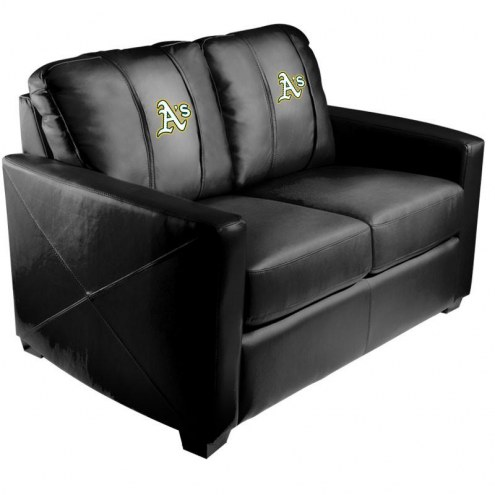 Oakland Athletics XZipit Silver Loveseat with Secondary Logo