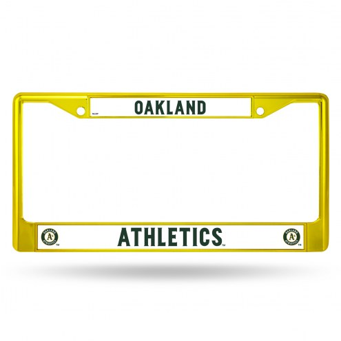 Oakland Athletics Yellow Colored Chrome License Plate Frame