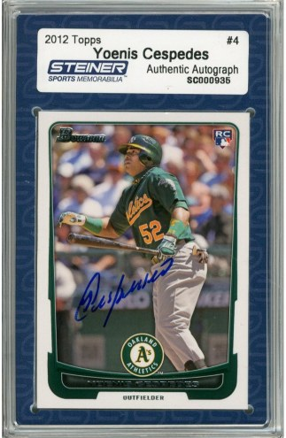 Oakland Athletics Yoenis Cespedes Signed 2012 Bowman Draft Rookie Card