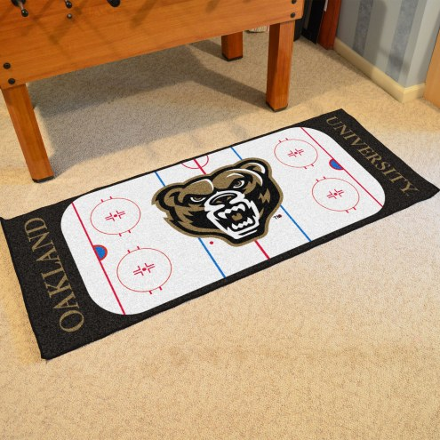 Oakland Golden Grizzlies Hockey Runner Rug