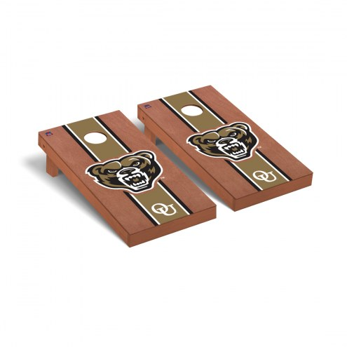 Oakland Golden Grizzlies Rosewood Stained Cornhole Game Set