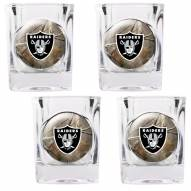 Oakland Raiders Open Field 4-Piece RealTree Square Shot Glass Set